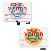 TIMEbadge 08106 Handwritten School Visitor Expiring Badges - One Day - Qty. 1,000