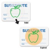TIMEbadge 08108 Handwritten Substitute Expiring Badges - One Day - Qty. 1,000