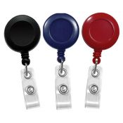 Round Badge Reels - 1.25'' - Belt Clip - Clear Strap - 100 per pack
