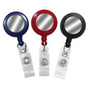 Round Badge Reels w/ Silver Sticker - 1.25'' - Belt Clip - Durable Strap - 100 per pack