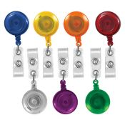 Translucent Round Badge Reels - 1.25'' - Belt Clip - Clear Strap - 100 per pack