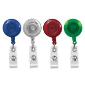 Translucent Round Badge Reels - 1.25'' - Spring Clip - Clear Strap - 100 per pack