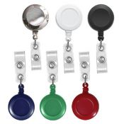 Round Badge Reels - 1.25'' - Spring Clip - Clear Strap - 100 per pack