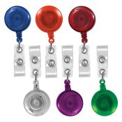Translucent Round Badge Reels - 1.25'' - Swivel Spring Clip - Clear Strap - 100 per pack